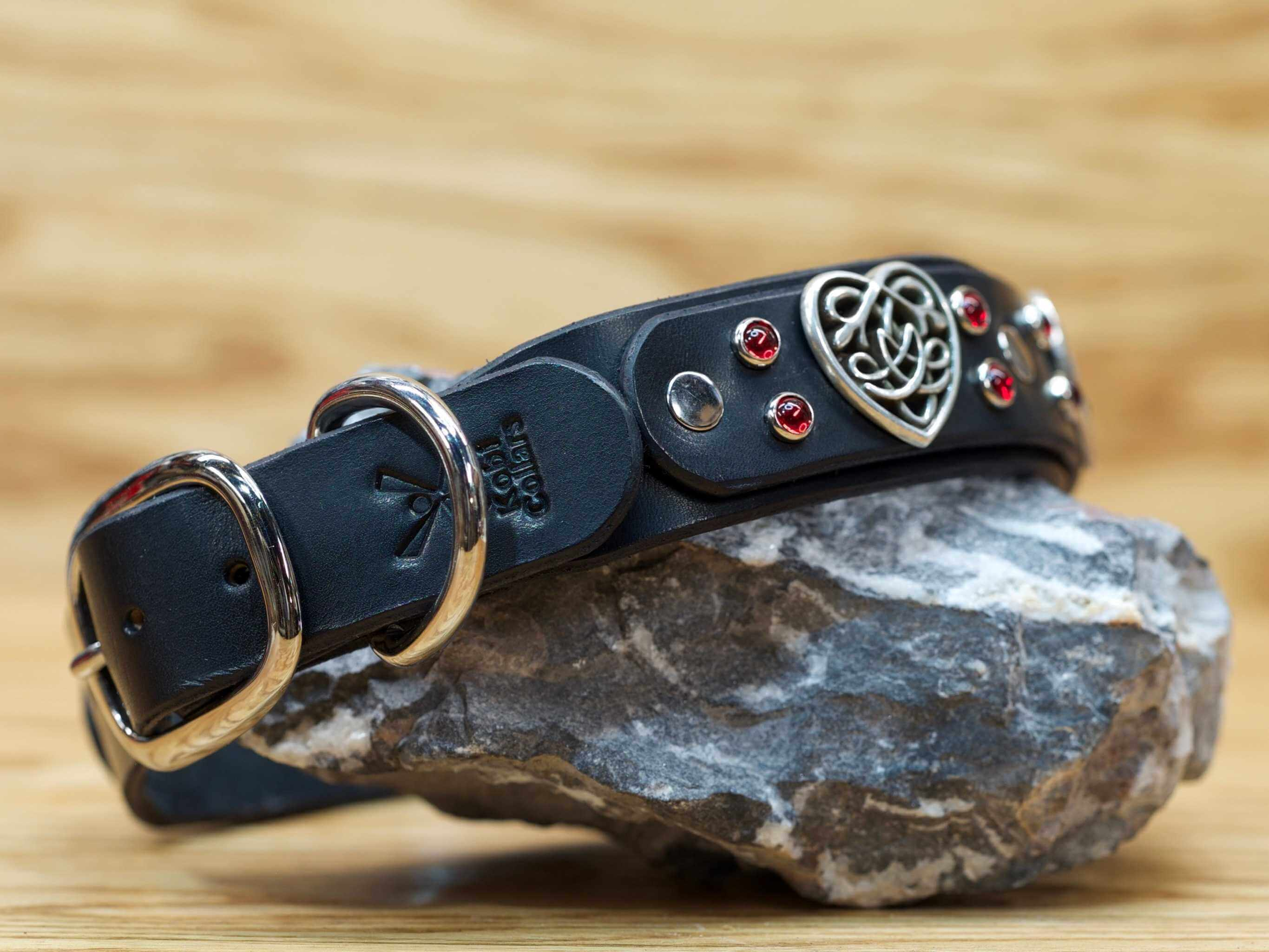 Premium leather dog collar stamped with our signature Kobi Collars logo