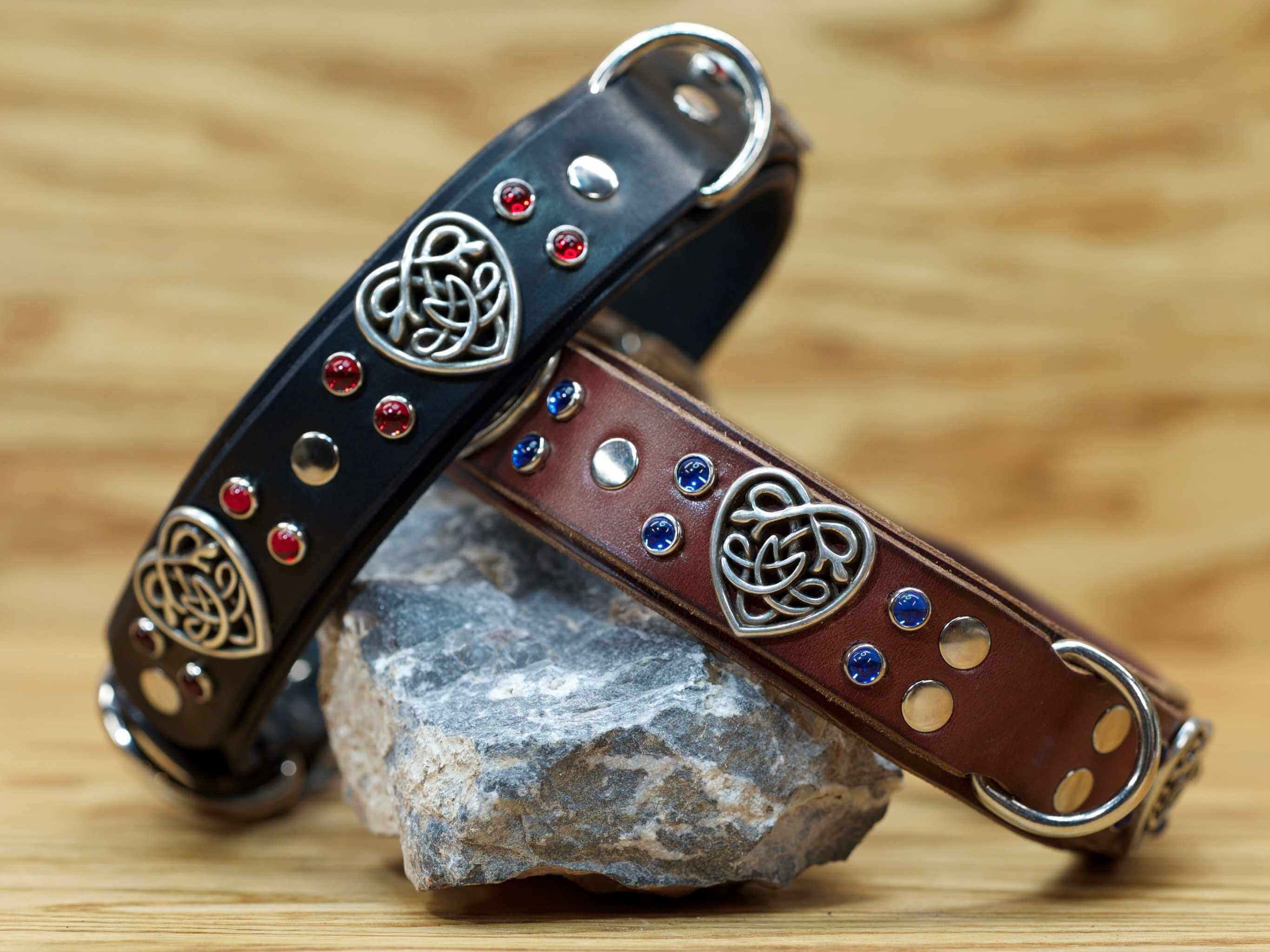 Show you love for your dog with the big heart custom leather collar