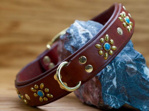 Autumn Flower collar shown in chestnut brown leather