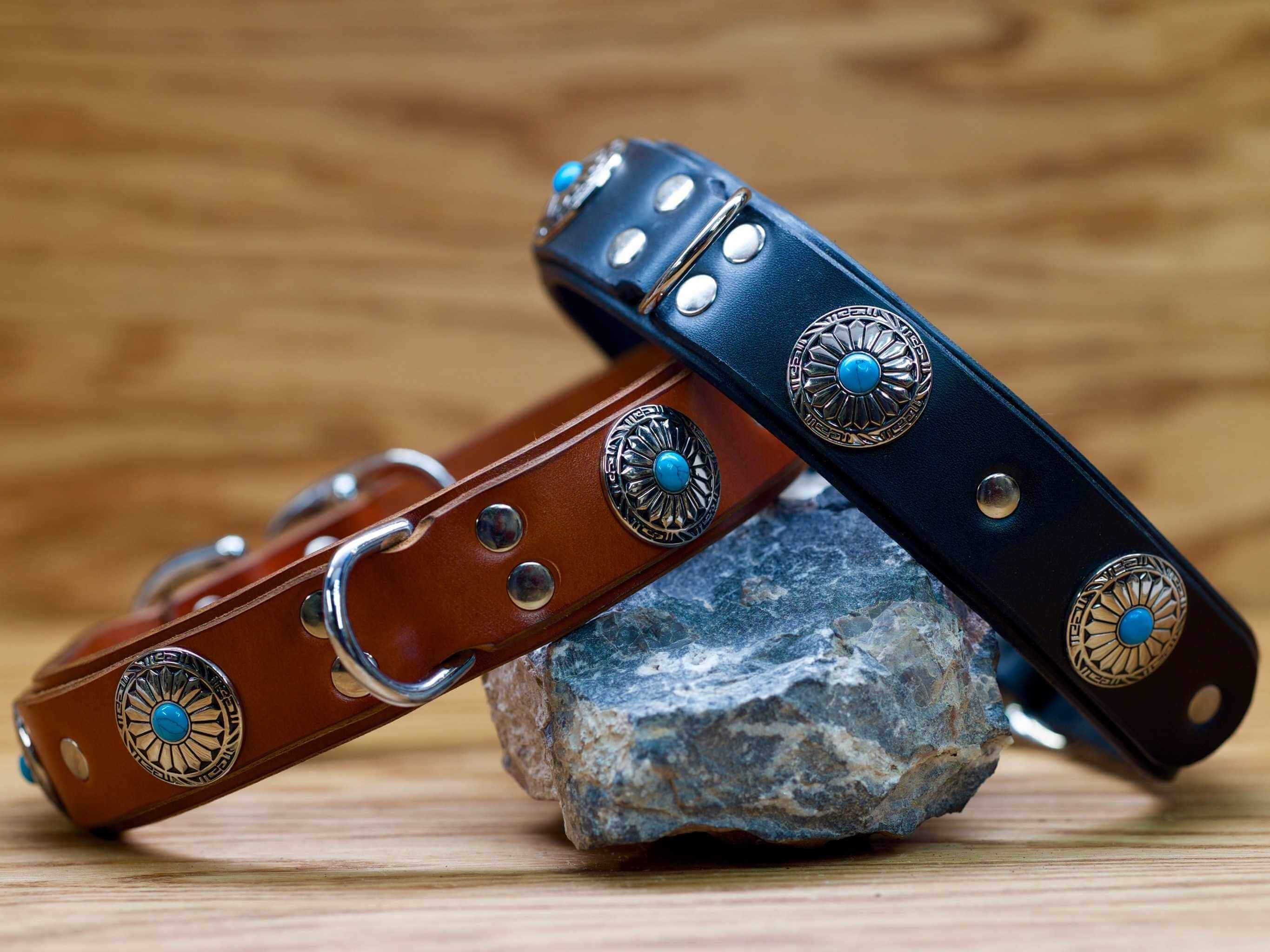 Our Blue Sun Leather Dog Collar is available in black or chestnut brown