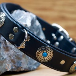 Blue Sun Collar shown in black leather