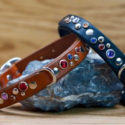 Happy Sparkles Leather Dog Collar in black or chestnut brown