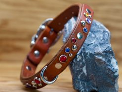 Happy Sparkles collar shown in brown leather