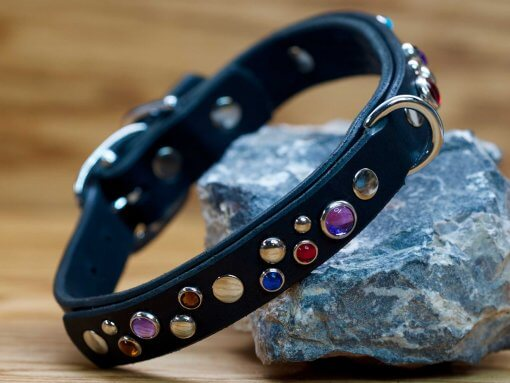 Happy Sparkles collar shown in black leather