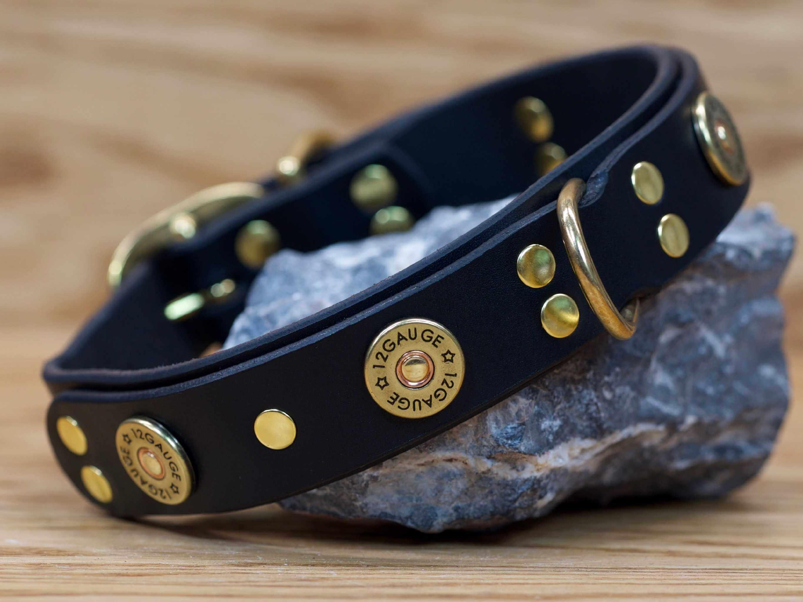 Shotgun dog collar shown in black leather