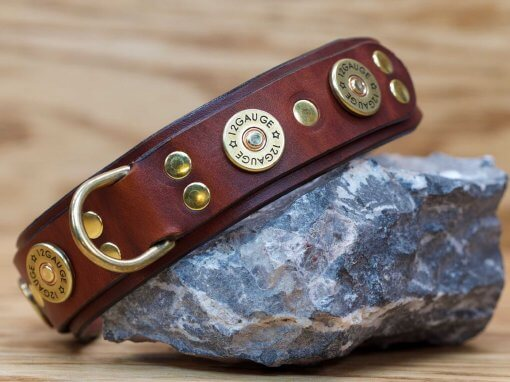 Shotgun leather dog collar with extra d-ring