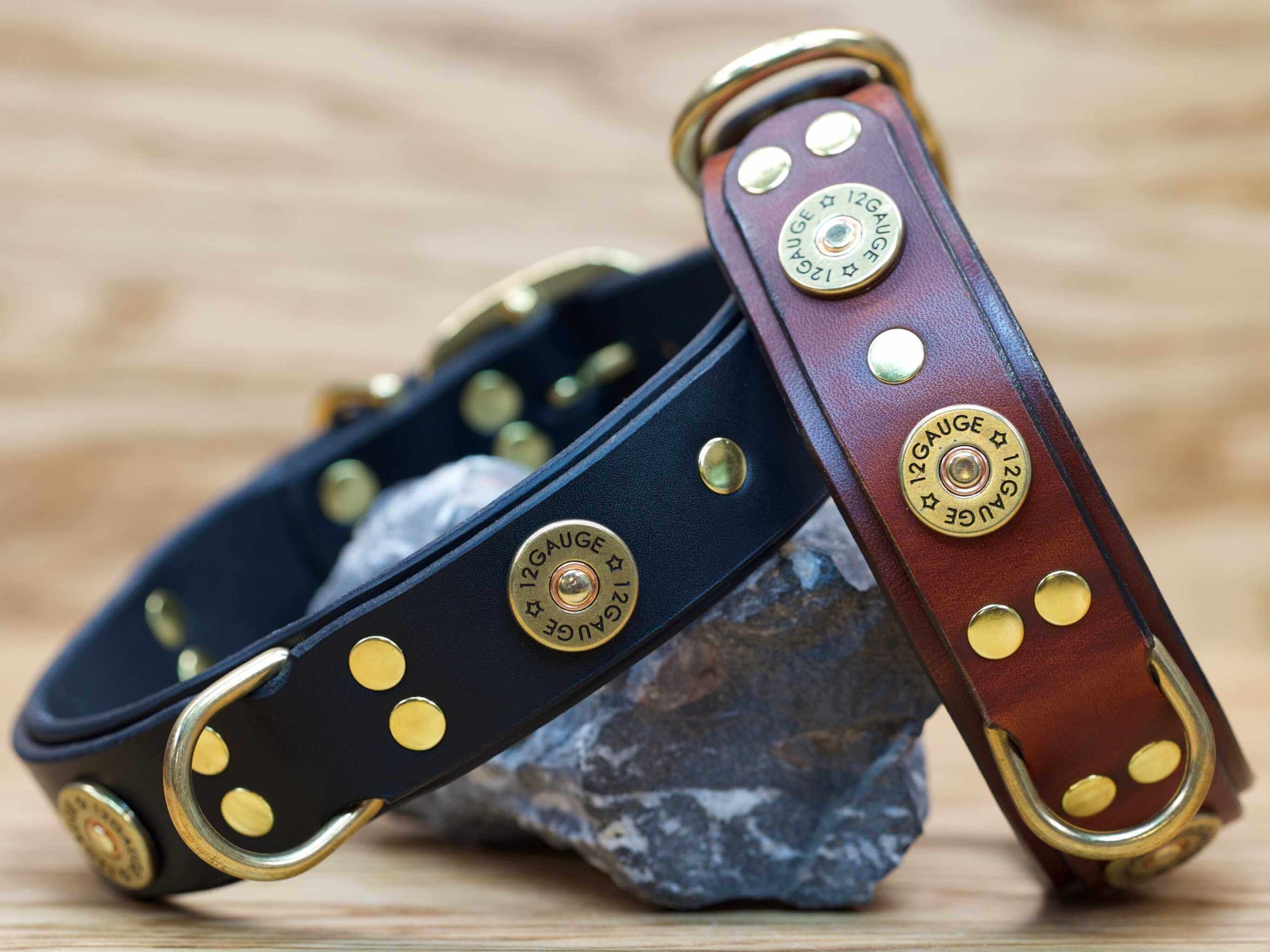 The shotgun collar is available in black and chestnut brown