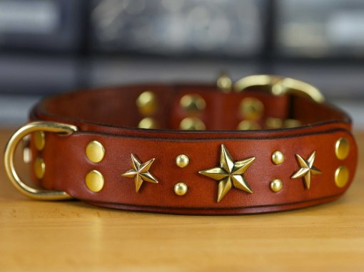 Stars 'n Studs Leather Dog Collar