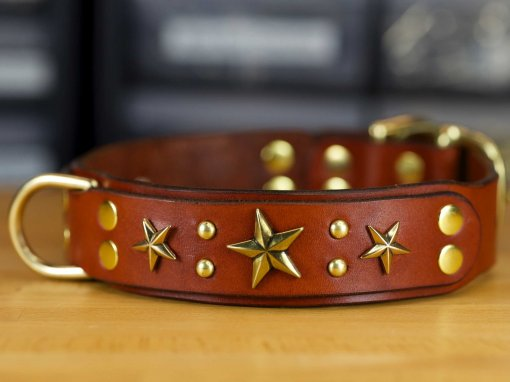 This leather dog collar has an extra d-ring for easy leashing