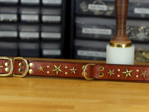 Your choice of gold or silver studs compliment the stars on this custom leather dog collar