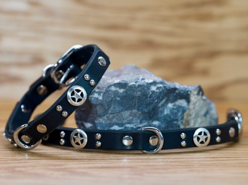 Little Ranger leather dog collar with Texas lone stars