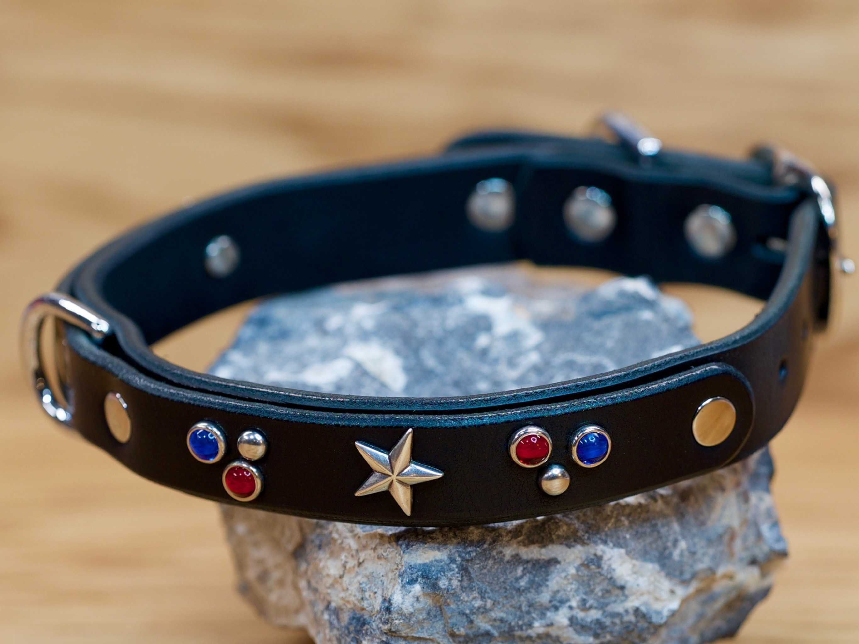 Stars and stones on leather dog collar