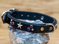 The Patriot custom leather dog collar