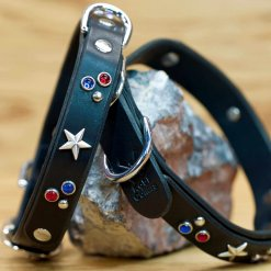 Custom leather collar in patriotic colors