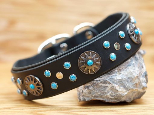 The Surya collar is adorned with beautiful sun conchos