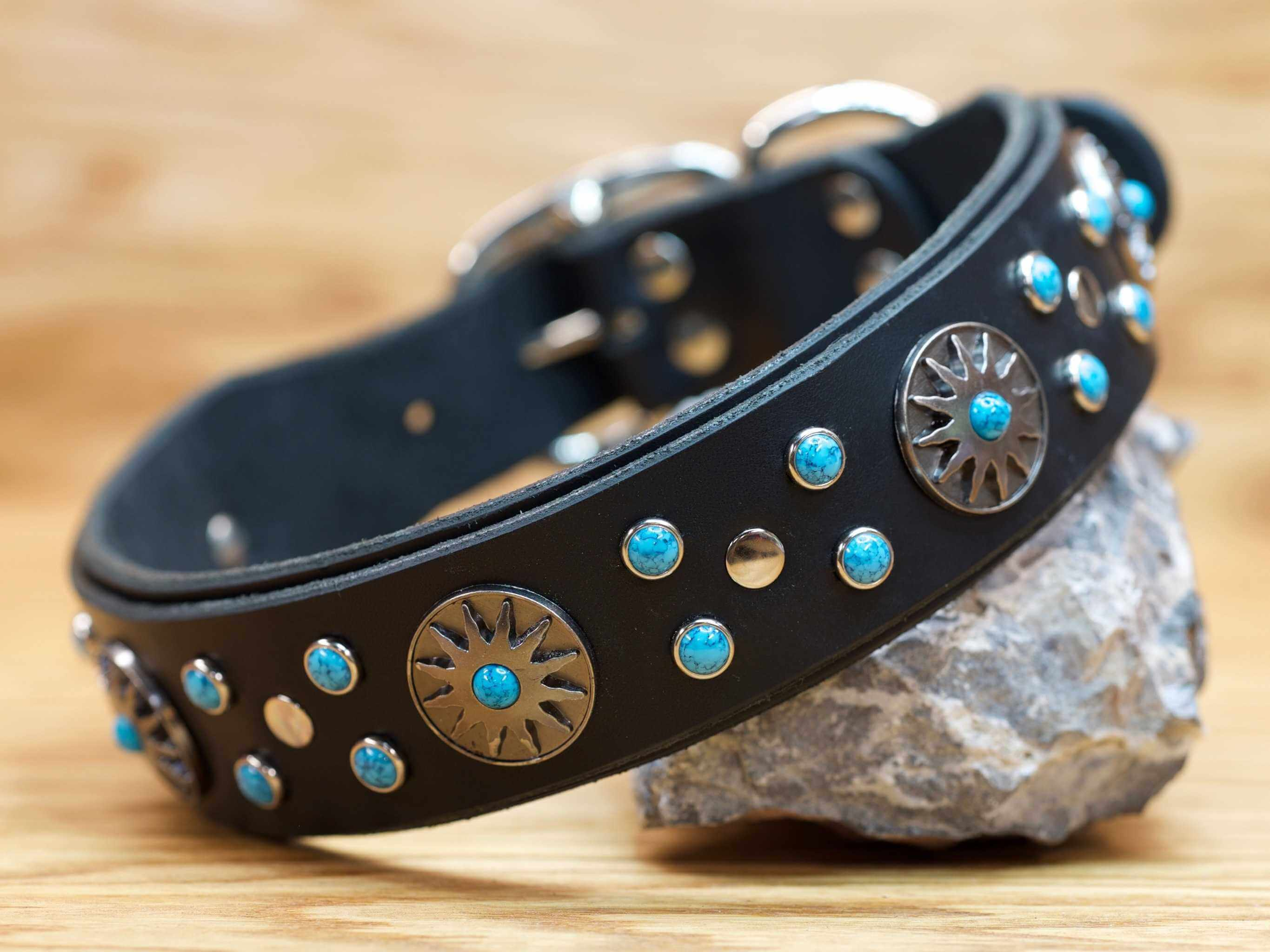 Your dog will get noticed wearing the Surya leather collar