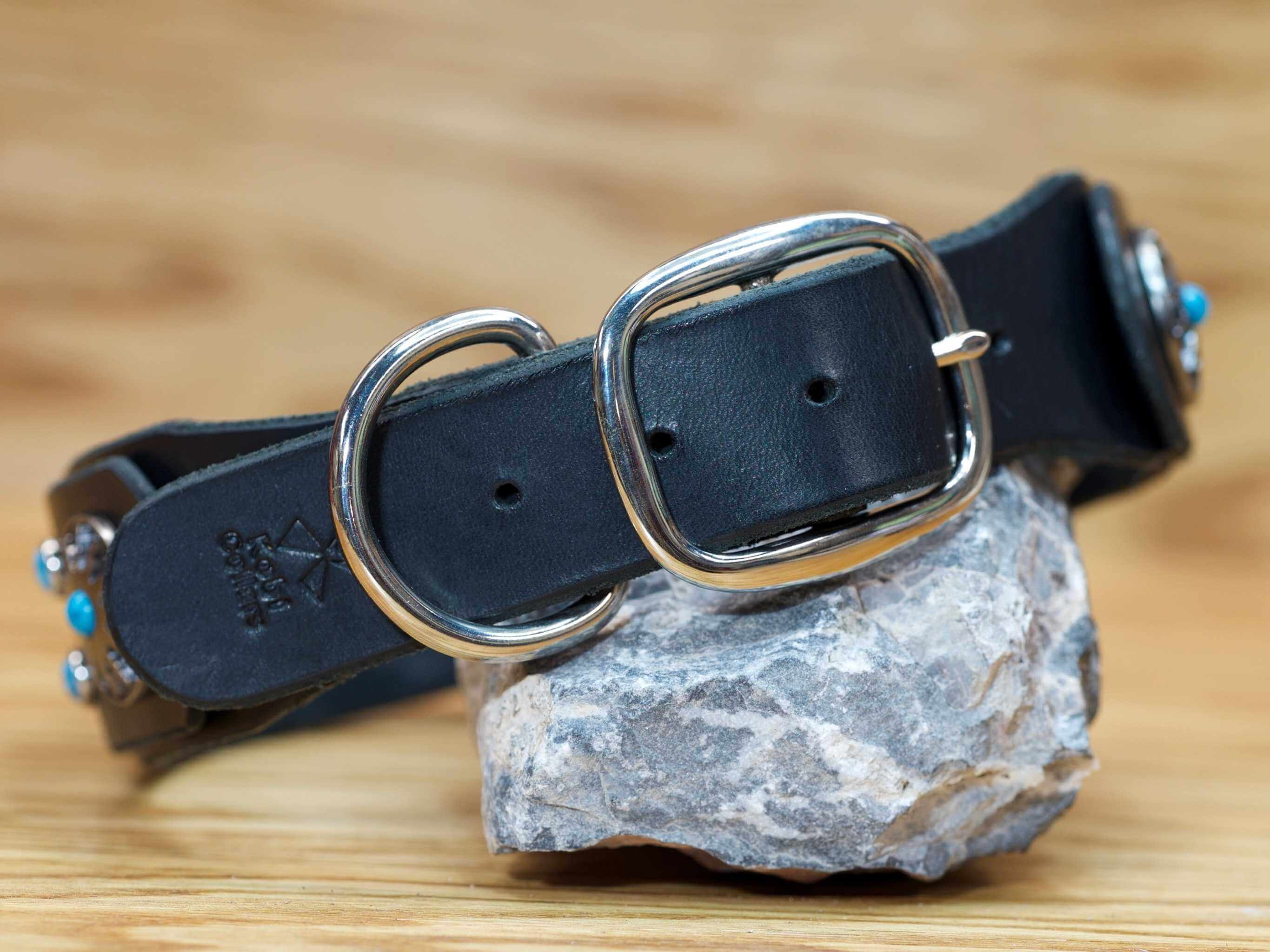 We only use premium brass hardware on all of our custom leather dog collars