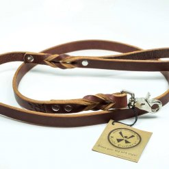 Leather dog leash in chestnut brown