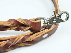 Custom leather dog leash with braided handle and snap closure