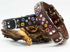 This dog collar is available in black or chestnut brown leather