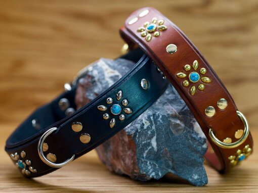 The Autumn Flower dog collar is available in black, chestnut brown, or tan leather