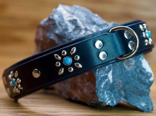 Autumn Flower collar shown in black leather