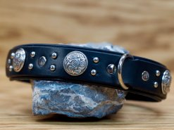 Our celtic themed leather dog collar