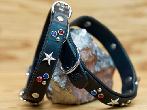Custom leather collar in patriotic colors