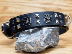 4 iron crosses decorate this handcrafted leather dog collar